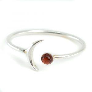 Birthstone Moon Ring Garnet January - 925 Silver