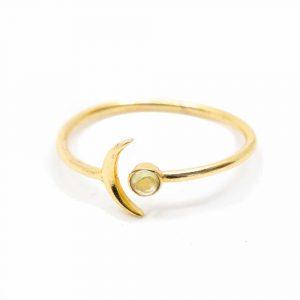 Birthstone Moon Ring Peridot August - 925 Silver - Adjustable