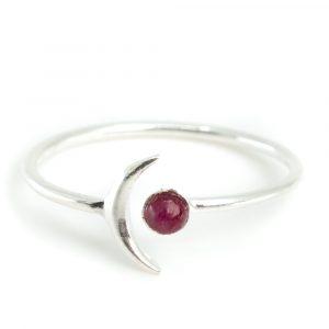 Birthstone Moon Ring Ruby July - 925 Silver