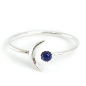 Birthstone Moon Ring Sapphire September - 925 Silver
