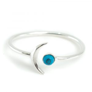 Birthstone Moon Ring Turquoise December - 925 Silver