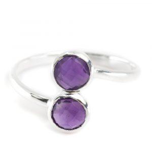 Birthstone Ring Amethyst February - 925 Silver