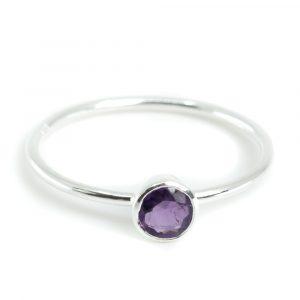 Birthstone Ring Amethyst February - 925 Silver - (Size 17)