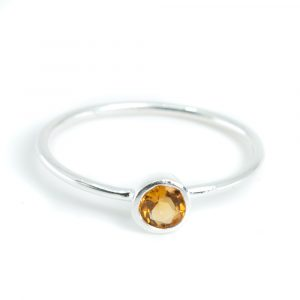 Birthstone Ring Citrine November - 925 Silver - (Size 17)