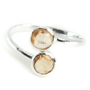 November Citrine Birthstone Ring - Silver 925
