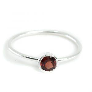 Birthstone Ring Garnet January- 925 Silver - (Size 17)