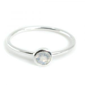 Birthstone Ring Moonstone June - 925 Silver - (Size 17)