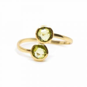Birthstone Ring Peridote August - 925 Silver - Adjustable
