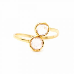 Birthstone Ring Rose Quartz October - 925 Silver - Adjustable