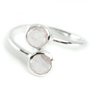 Birthstone Ring Rose Quartz October - 925 Silver
