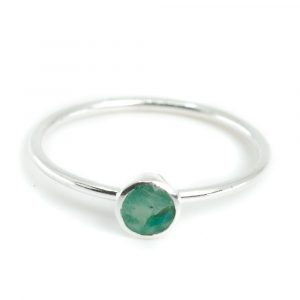 Birthstone Ring Emerald May - 925 Silver - (Size 17)