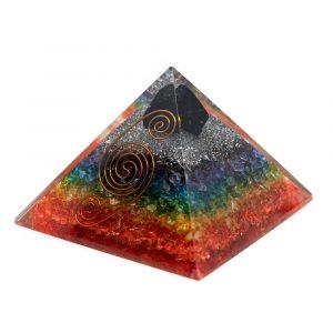 Orgonite Pyramid 7 Chakra - Rough Black Tourmaline (90 mm)