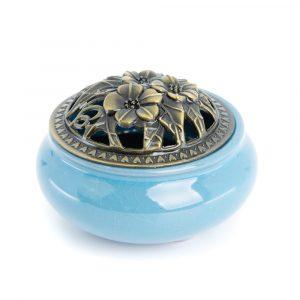 Traditional Tibetan Ceramic Incense Burner Light Blue