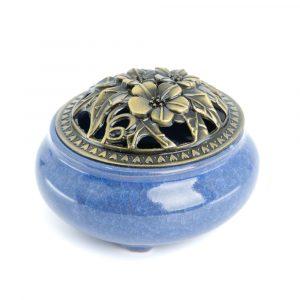 Traditional Tibetan Ceramic Incense Burner Blue
