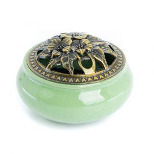 Traditional Tibetan Ceramic Incense Burner Green
