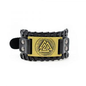 Viking Adjustable Bracelet Valknut - Imitation Leather