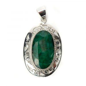 """Gemstone Pendant Emerald Quartz 925 Silver """"Ara"""""""