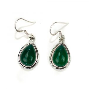 "Gemstone Earrings Green Onyx 925 Silver ""Kirih"""