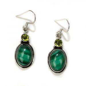 """Gemstone Earrings Malachite and Peridote 925 Silver """"Mahsa"""""""