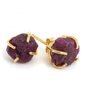 Gemstone Ear Studs Raw Ruby - 925 Silver - Gold Plated