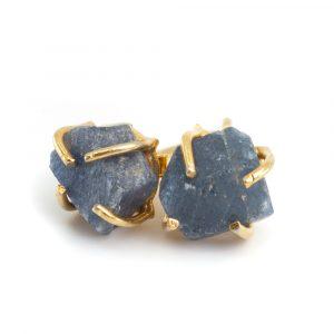 Gemstone Ear Studs Raw Sapphire - 925 Silver; Gold Plated