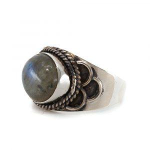"""Gemstone Ring Labradorite 925 Silver """"Jisha"""" (Size 17)"""