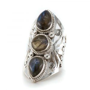 """Gemstone Ring Labradorite 925 Silver """"Faehsida"""" (Size 17)"""