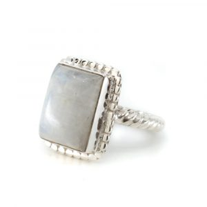 "Gemstone Ring Rainbow Moonstone 925 Silver ""Kasasha"" (Size 17)"