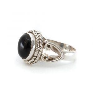 "Gemstone Ring Black Onyx 925 Silver ""Dakishi"" (Size 17)"