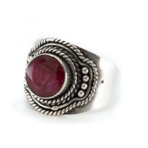 "Gemstone Ring Ruby Quartz 925 Silver ""Ehna"" (Size 17)"