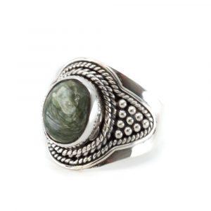 "Gemstone Ring Seraphinite 925 Silver ""Fohsira"" (Size 17)"