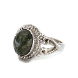 "Gemstone Ring Seraphinite 925 Silver ""Nifih"" (Size 17)"