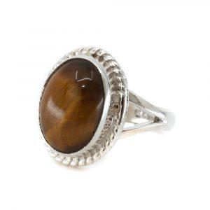 "Gemstone Ring Tiger Eye 925 Silver ""Cassavi"" (Size 17)"