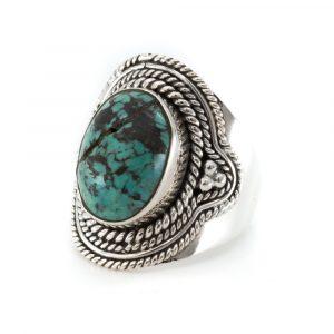 "Gemstone Ring Turquoise 925 Silver ""Defira"" (Size 17)"