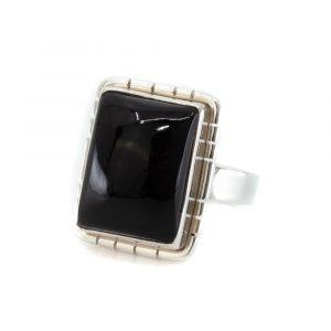 "Gemstone Ring Black Onyx 925 Silver ""Ulsahni"" (Size 17)"