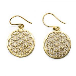 Flower of Life Earrings Brass Gold-tone (20 mm)