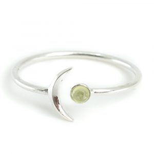 Birthstone Moon Ring Peridote August - 925 Silver