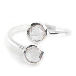 Birthstone Ring Rock Crystal April - 925 Silver