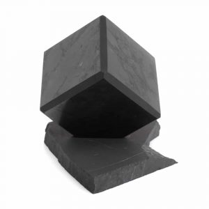 Shungite Cube on Rough Standard 10 cm
