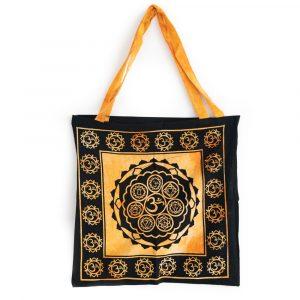 Tote Bag Cotton - OHM and Chakras Orange (45 cm)