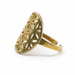 Adjustable Ring Flower of Life Gold-tone Brass (20 mm)