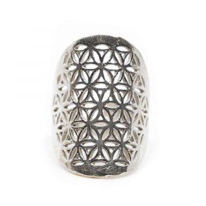 Adjustable Ring Flower of Life Silver-tone Brass (30 mm)
