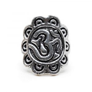 Adjustable Ring OHM Brass Silver-tone (30 mm)