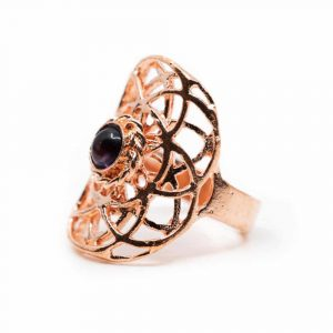 Adjustable Ring Seed of Life Copper with Amethyst (30 mm)