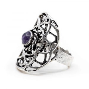 Adjustable Ring Seed of Life Silver-tone Brass with Amethyst (30 mm)