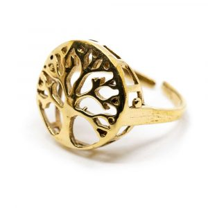 Adjustable Ring Tree of Life Gold-tone Brass (20 mm)