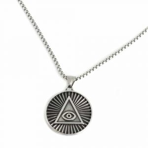 Amulet Silver Color All Seeing Evil Eye Pyramid (35 mm)