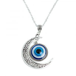 Amulet Silver Evil Eye with Moon