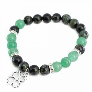 Gemstone Bracelet Aventurine/Labradorite with Four-leaf Clover