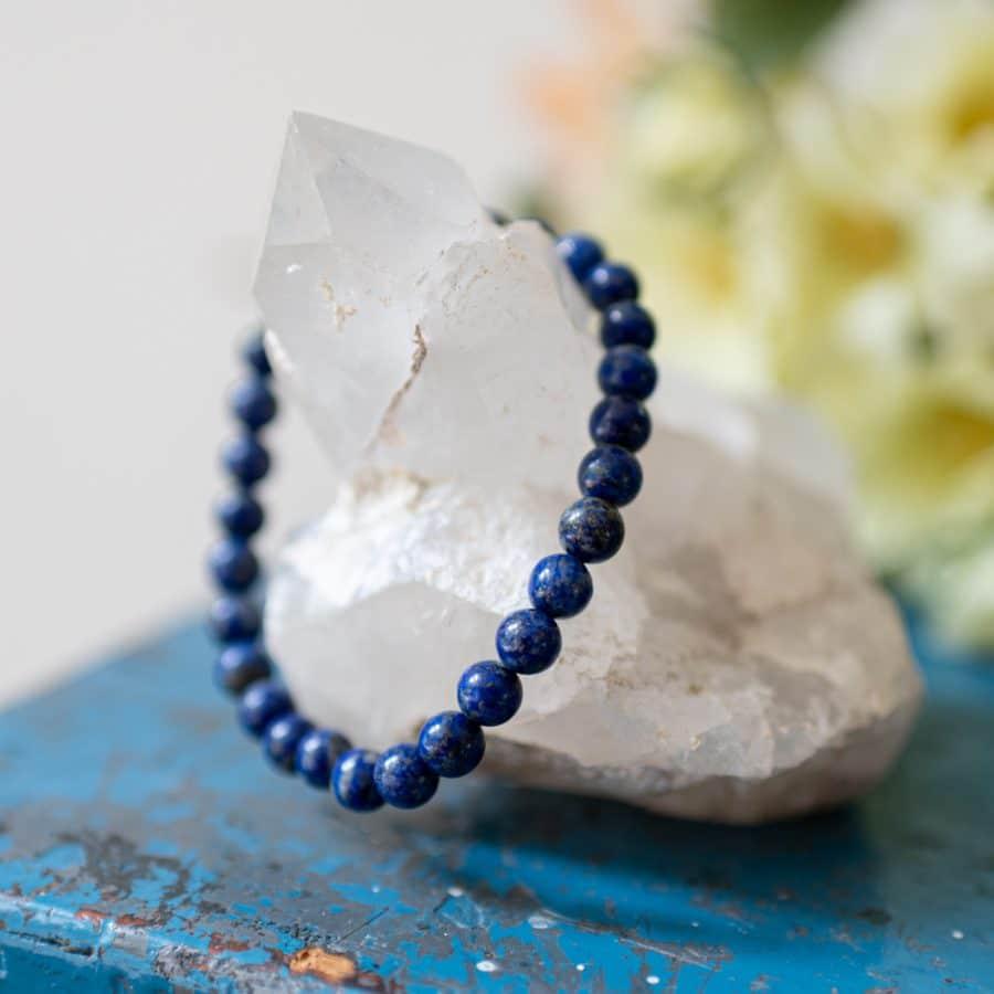 lapis lazuli bracelet on rock crystal